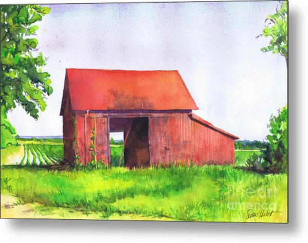Red Barn Cutchogue Ny Metal Print by Susan Herbst
