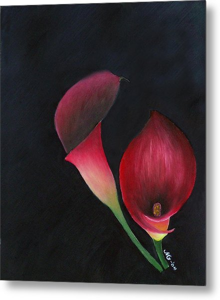 Red Calla Lillies Metal Print by Mary Gaines