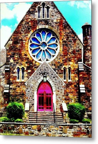 Red Church Door Bethlehem Pa Metal Print