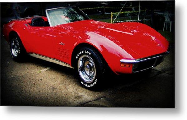 Red Corvette Metal Print by Emily Kelley