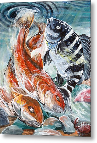 Red Drums And A Sheephead Metal Print by Jenn Cunningham