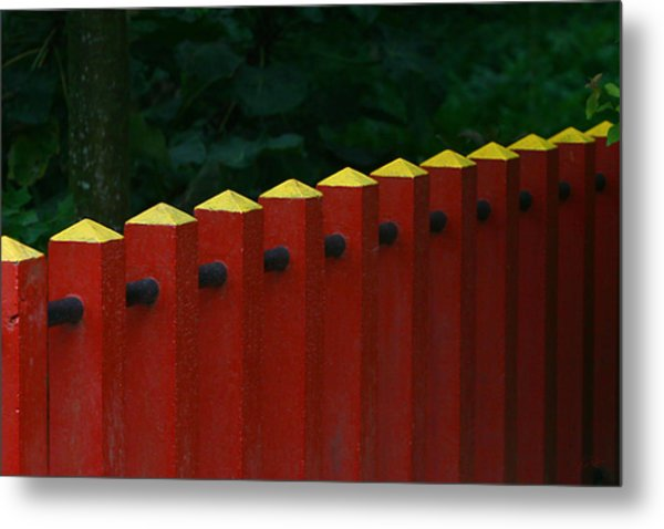 Red Fence Metal Print