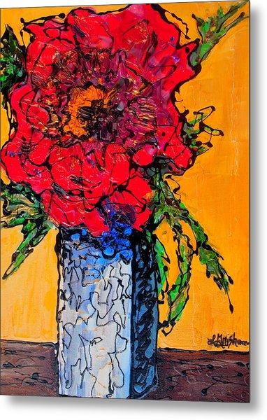 Red Flower Square Vase Metal Print