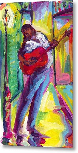 Red Guitar Metal Print by Saundra Bolen Samuel