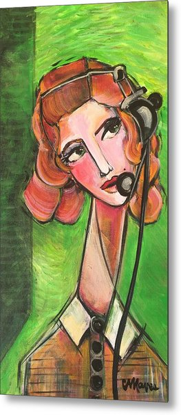 Metal Print featuring the painting Red Headed Operator by Laurie Maves ART