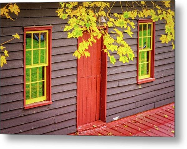 Red Mill Door In Fall Metal Print