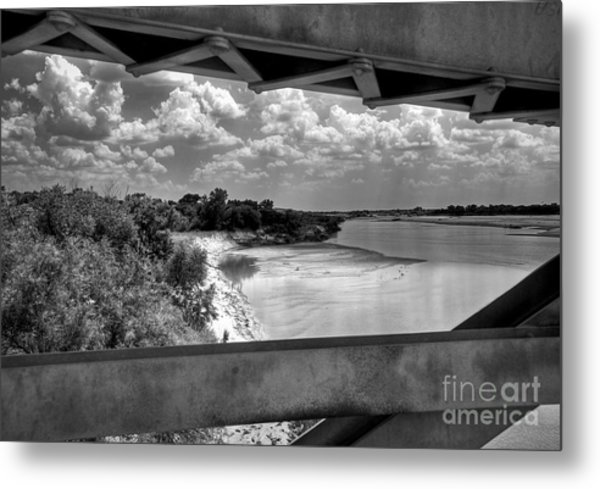 Red River Bridge View Metal Print