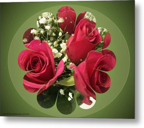 Metal Print featuring the digital art Red Roses And Baby's Breath Bouquet by Sonya Nancy Capling-Bacle