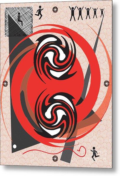 Red Spirals Metal Print