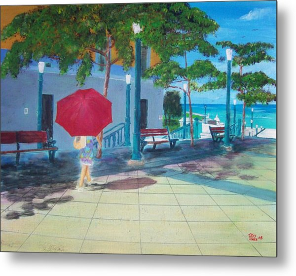 Red Umbrella In San Juan Metal Print by Tony Rodriguez