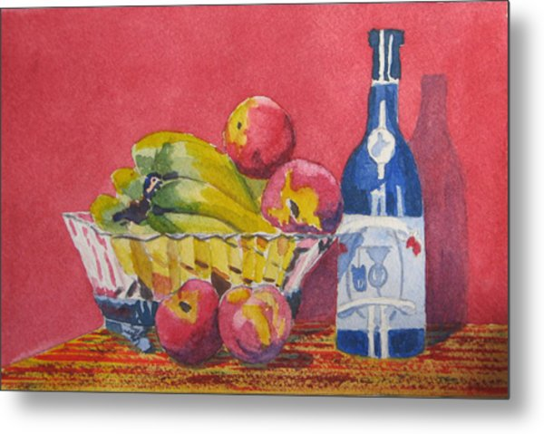 Red Wall Blue Wine Metal Print by Libby  Cagle