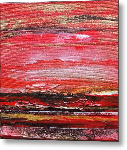 Redesdale Rhythms And  Textures Series  Red And Gold 3 Metal Print by Mike   Bell