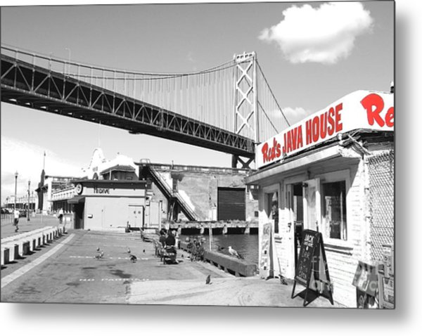 Reds Java House And The Bay Bridge In San Francisco Embarcadero . Black And White And Red Metal Print