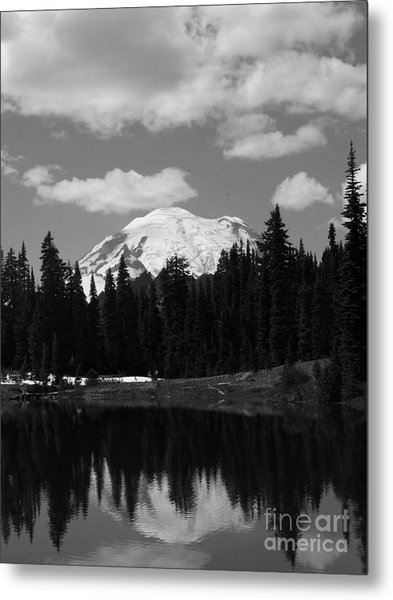 Mt. Rainier Reflection In Black And White Metal Print