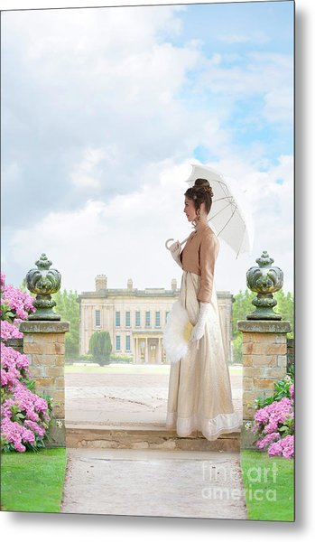 Regency Woman In The Grounds Of A Historic Mansion Metal Print