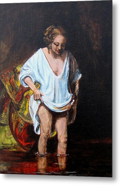 Rembrandts Woman Bathing Metal Print by Pauline Ross