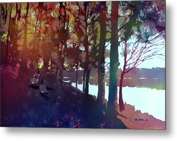 Riverbank Gathering Metal Print