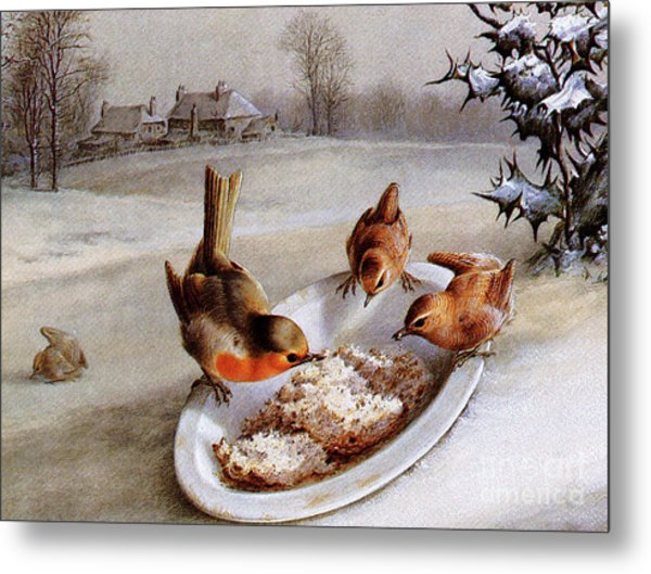 Robins And Wrens  Winter Breakfast Metal Print