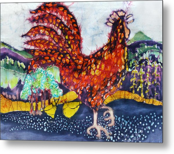 Rooster In The Morning Metal Print