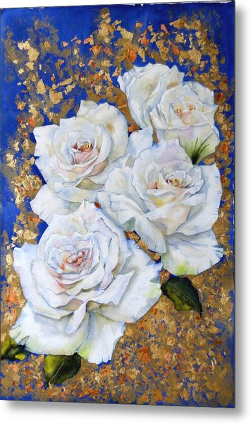 Roses With Gold Leaf Metal Print