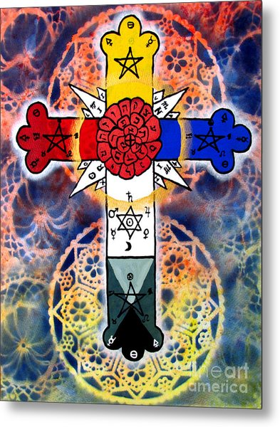 Rosy Cross Metal Print