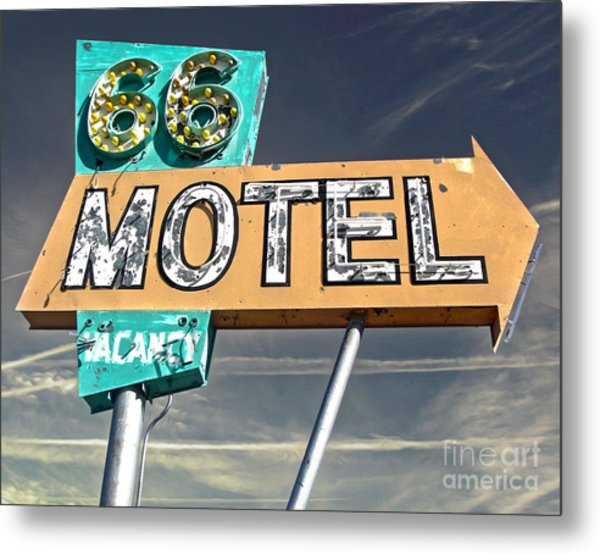Route 66 Motel Sign Metal Print