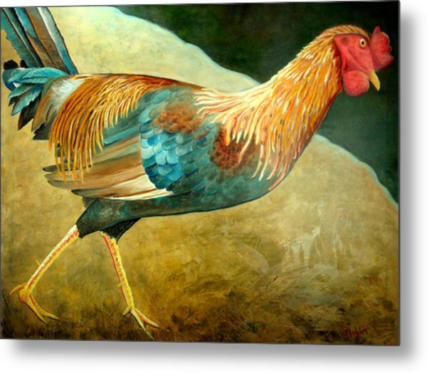 Running Rooster Metal Print by Scott Plaster