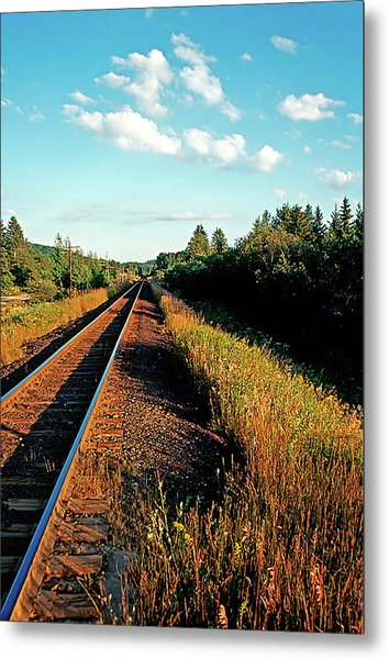 Rural Country Side Train Tracks Metal Print