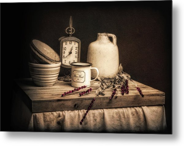 Rustic Table Setting Still Life Metal Print
