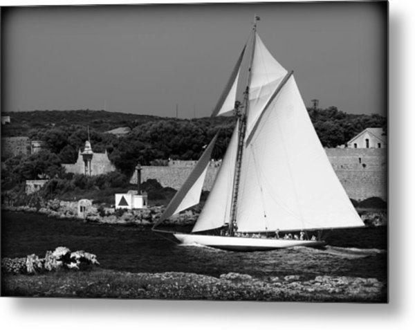 sailboat - a one mast classical vessel sailing in one of the most beautiful harbours Port Mahon Metal Print