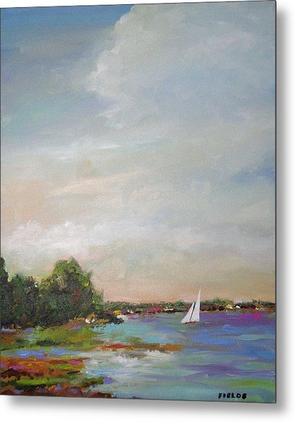 Sailboat Painting Meet You There Metal Print by Karen Fields
