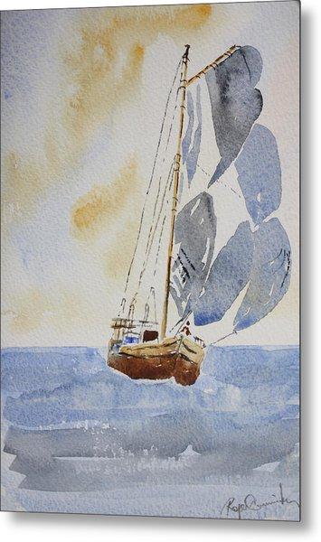 Sailboat Metal Print by Roger Cummiskey