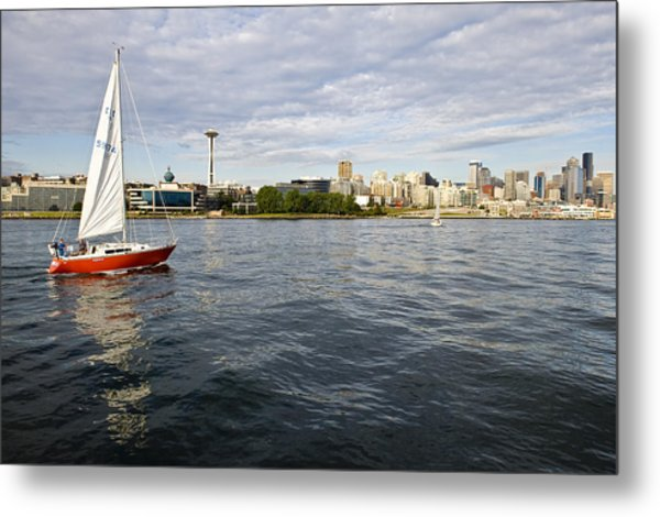 Sailing Downtown Metal Print by Tom Dowd