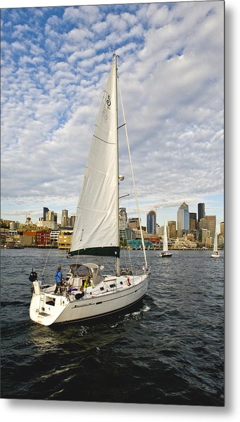 Sailing In Seattle Metal Print by Tom Dowd