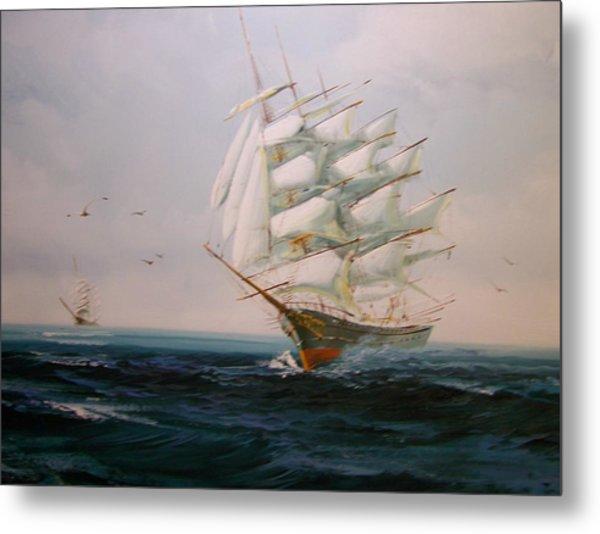Sailing Ships The Beauty Of The Sea Metal Print by Robert E Gebler