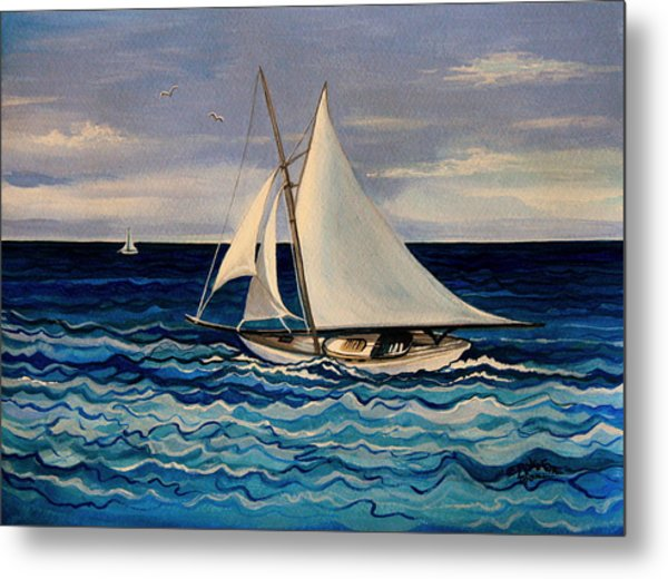 Sailing With The Waves Metal Print