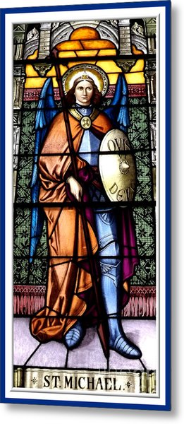 Saint Michael The Archangel Stained Glass Window Metal Print