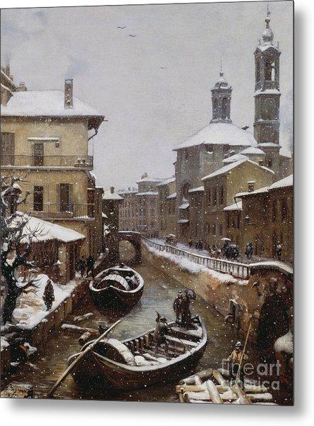 Saint Sophia Canal Covered In Snow Metal Print