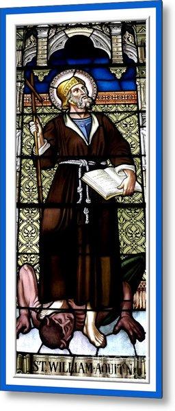Saint William Of Aquitaine Stained Glass Window Metal Print