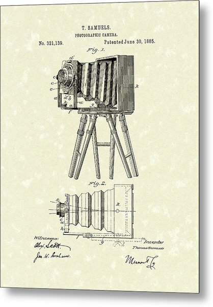 Samuels Photographic Camera 1885 Patent Art Metal Print