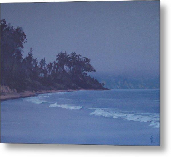 Santa Barbara Beach At Twilight Metal Print by Philip Fleischer