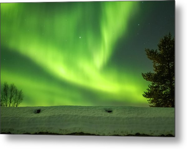 Sapmi Hut Rooftop Under The Northern Lights Karasjok Norway Metal Print