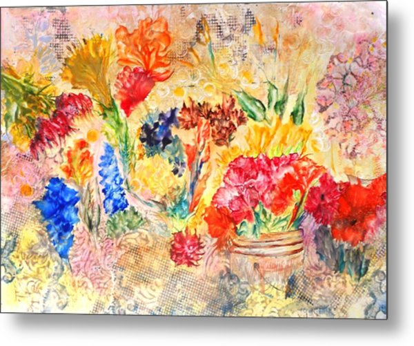 Saturday Flower Market Metal Print by John Vandebrooke