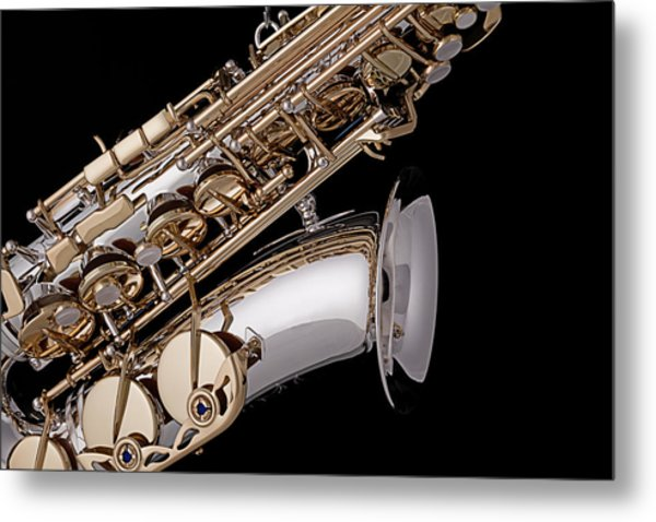 Saxophone Isolated Black Metal Print