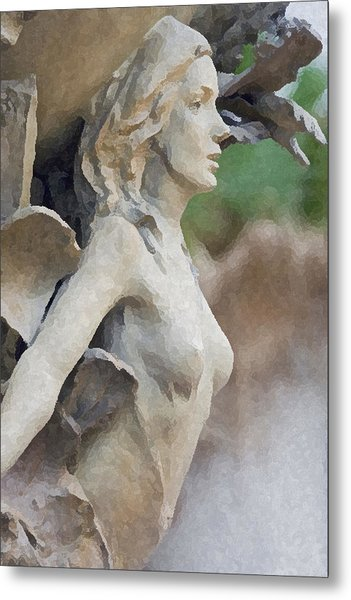 Sculpture Of Angelic Woman Metal Print by Christopher Purcell