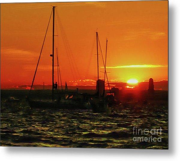 Sea Cliff Sunset Metal Print