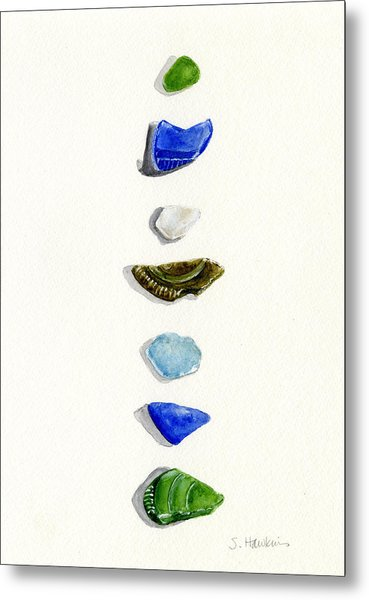 Sea Glass Watercolor Metal Print by Sheryl Heatherly Hawkins