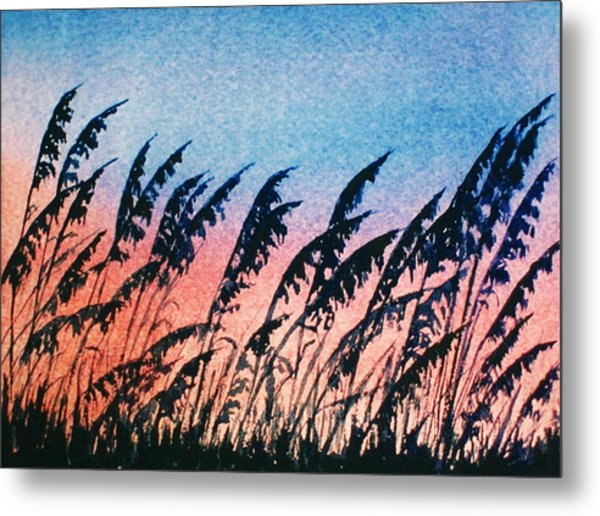 Sea Oats Silouette Metal Print by Suzanne Krueger