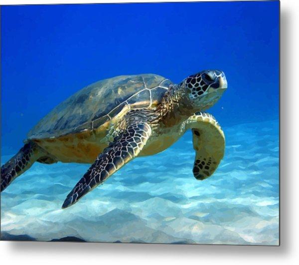 Sea Turtle Blue Metal Print by Peter Oconor