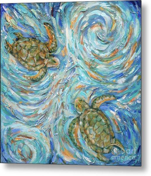 Sea Turtles In The Current Metal Print